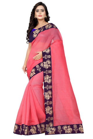Peach Color Bhagalpuri Saree - Peacock-Peach