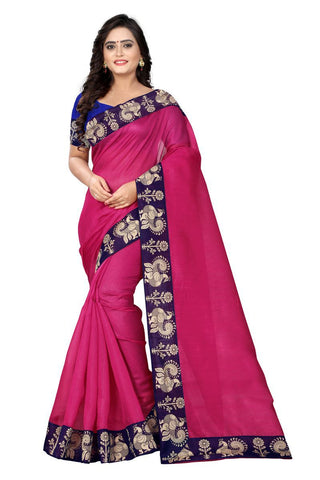 Pink Color Bhagalpuri Saree - Peacock-Pink