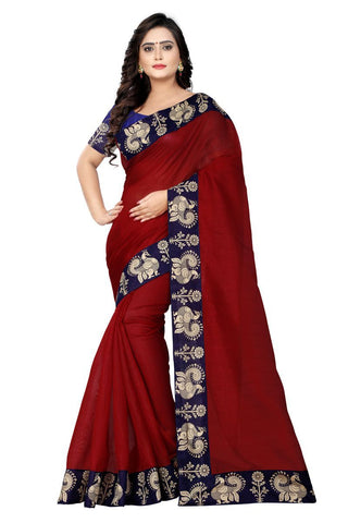 Red Color Bhagalpuri Saree - Peacock-Red