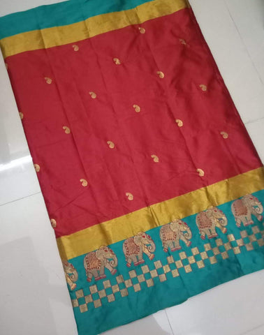 Maroon Color Soft Linen Cotton Silk Saree - Picnic-Elephant-01
