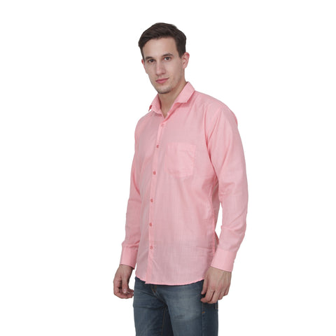 Pink Color Cotton Blend Slim Fit Shirts - Pink-shirtsNew