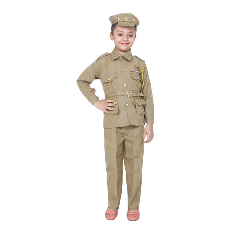 Beige Color Cotton Blend Fancy Costume Dress  - Police-1