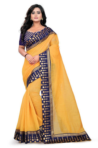 Gold Color Chanderi Saree - Polka-Dots
