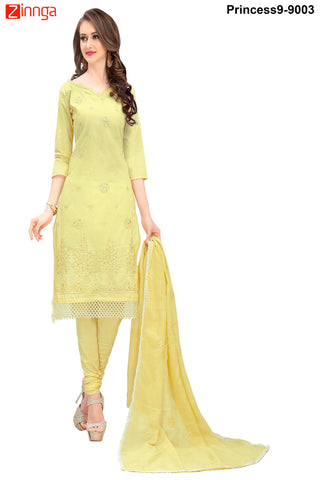 MINU FASHION- Women's Beautiful  Yellow Color Cotton Salwar Kameez-Princess9-9003
