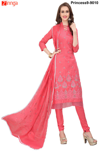 MINU FASHION- Women's Beautiful  Pink Color Cotton Salwar Kameez-Princess9-9010