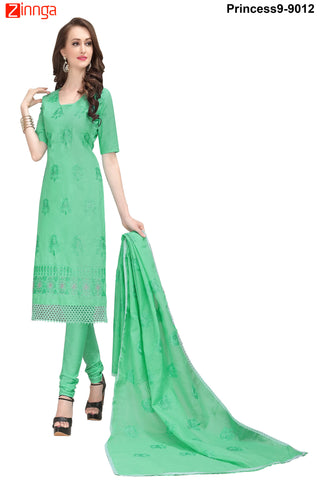 MINU FASHION- Women's Beautiful  Green Color Cotton Un Stitched Salwar Kameez-Princess9-9012