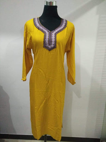 Yellow Color Rayon Stitched Kurti - Pulprayon-1