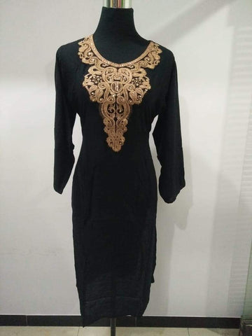 Black Color Rayon Stitched Kurti - Pulprayon-3