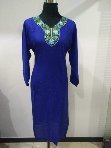 Royal Blue Color Rayon Stitched Kurti - Pulprayon-4