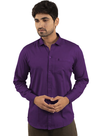 Purple Color Plain Casual Shirt - PR-1ABF