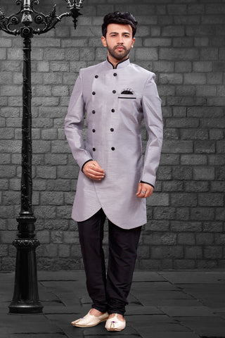 Grey Color Imported Silk Men's Western kurta Pyjama - R-401
