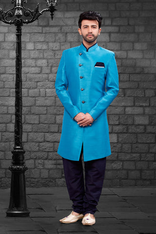 Ferozi Color Imported Silk Men's Western kurta Pyjama - R-402