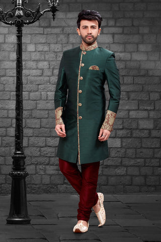 Green Color Imported Silk Men's Western kurta Pyjama - R-403