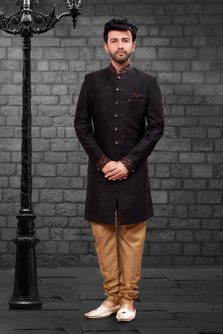 Black Color Imported Silk Men's Western kurta Pyjama - R-404