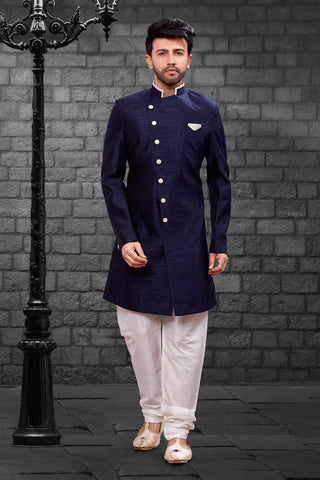 Navy Blue Color Imported Silk Men's Western kurta Pyjama - R-405