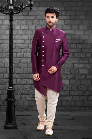 Wine Color Imported Silk Men's Western kurta Pyjama - R-406