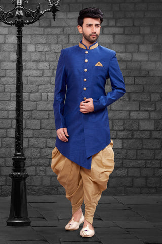 Royal Blue Color Imported Silk Men's Western kurta Pyjama - R-407