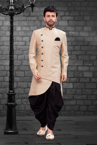 Light Gold Color Imported Silk Men's Western kurta Pyjama - R-408