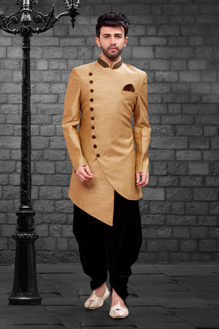 Beige Color Imported Silk Men's Western kurta Pyjama - R-409