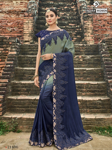 Grey And Violet Color Two Tone Silk Shaded Saree - RA21406