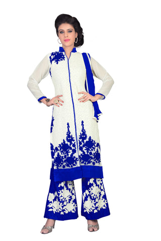 White Color Georgette Un Stitched Salwar  - RACHT01