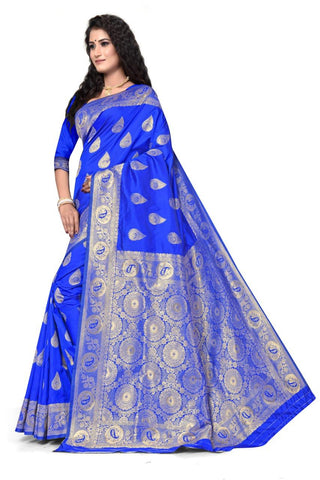 ROYAL BLUE Color Heavy silk Dyeing material Saree - RADHARANI-01