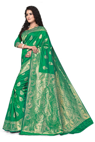 GREEN Color Heavy silk Dyeing material Saree - RADHARANI-02