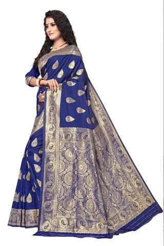 NEVY BLUE Color Heavy silk Dyeing material Saree - RADHARANI-04