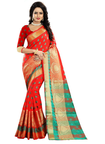 Red Color Poly Cotton Saree - RAGINI500-RED