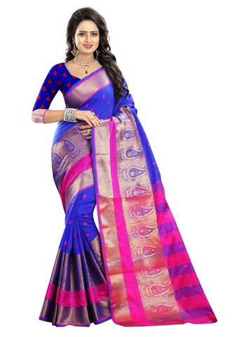 Blue Color Poly Cotton Saree - RAGINI600-BLUE