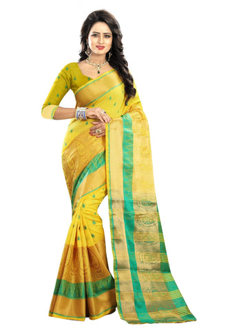 Yellow Color Poly Cotton Saree - RAGINI600-YELLOW