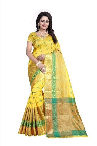 Yellow Color Poly Cotton Saree - RAGINI700-YELLOW