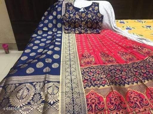 BUY BLUE GOLA-GAJRI Color Banarashi silk dyeing material  Lehenga