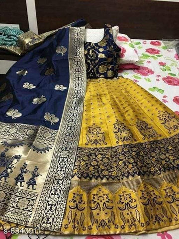 YELLOW  D- BLUE Color Banarashi silk dyeing material  Lehenga - RAJWADI -01