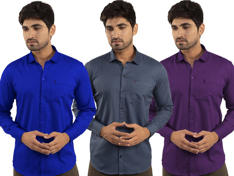 3 Combo Shirts Royal Blue, Navy Blue and Purple - 1ABF-RB-NB-PR