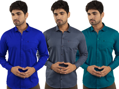 3 Combo Shirts Royal Blue, Navy Blue and Sea Green - 1ABF-RB-NB-SG