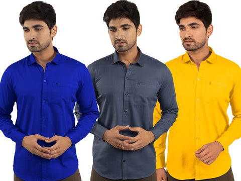 3 Combo Shirts Royal Blue, Navy Blue and Yellow - 1ABF-RB-NB-YW