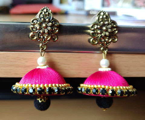 Pink And Black Color Antique Earrings - RC00002