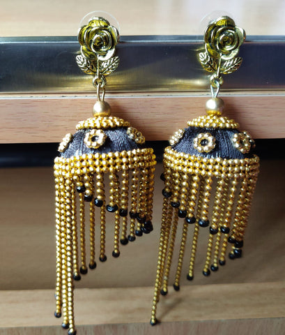 Black And Gold Color Antique Earrings - RC00003