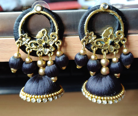 Black And Gold Color Antique Earrings - RC00005