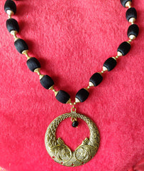 Buy Black And Gold Color Antique Necklace