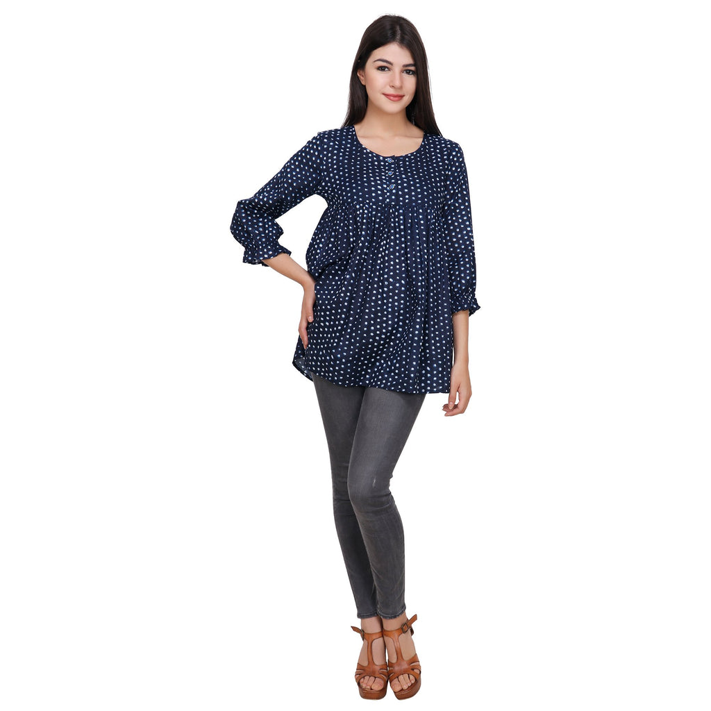 Navy Blue Color Rayon Top
