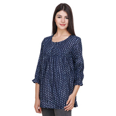 Navy Blue Color Rayon Top - RCTPSS001