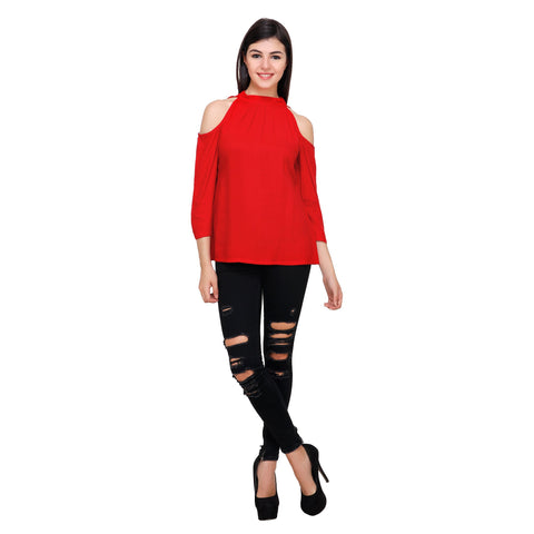 Red Color Rayon Top - RCTPSS004