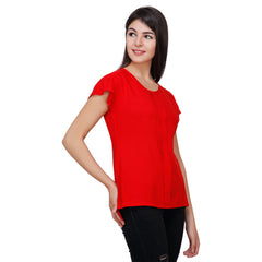 Red Color Rayon Top - RCTPSS007