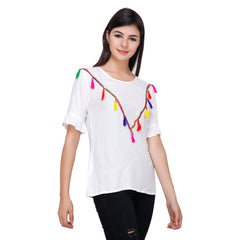 White Color Rayon Top - RCTPSS011