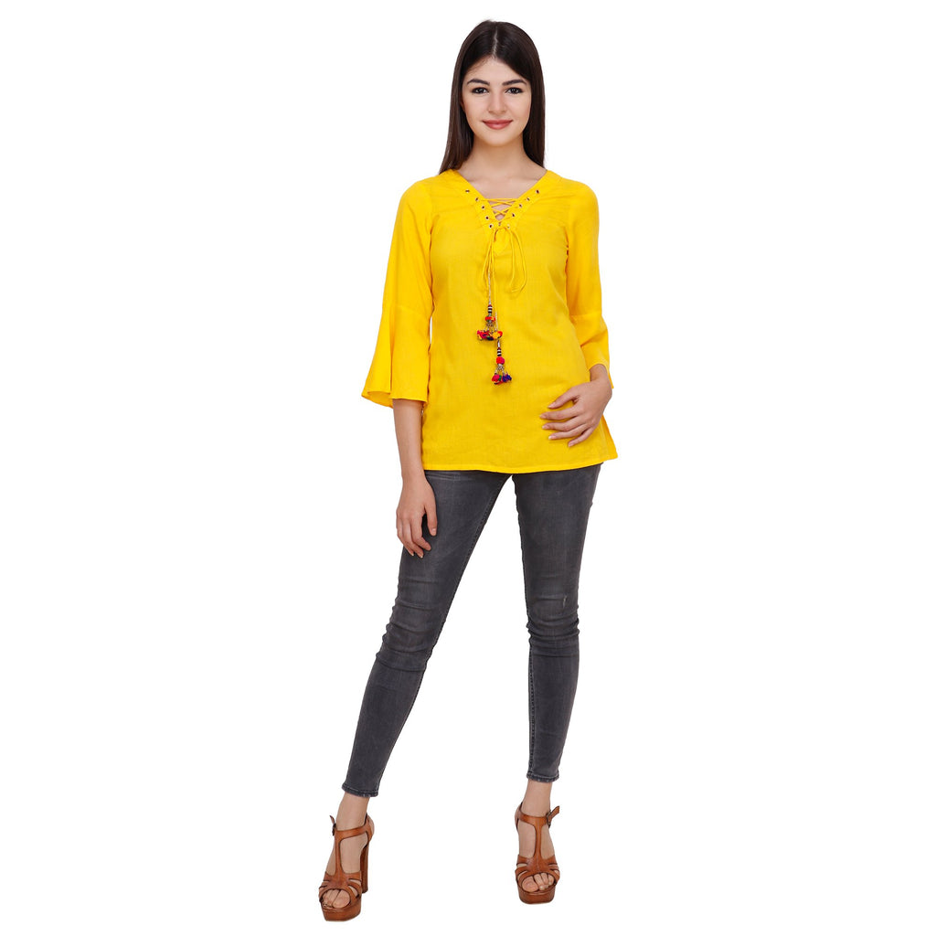 Yellow Color Rayon Top