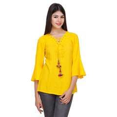 Yellow Color Rayon Top - RCTPSS020