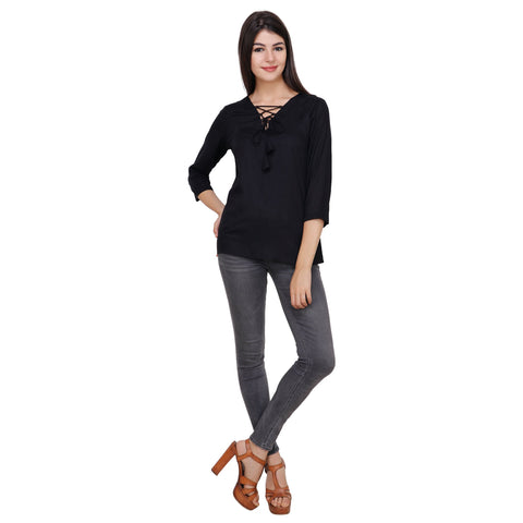 Black Color Rayon Top - RCTPSS025