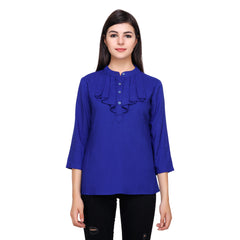 Navy Blue Color Rayon Top - RCTPSS027